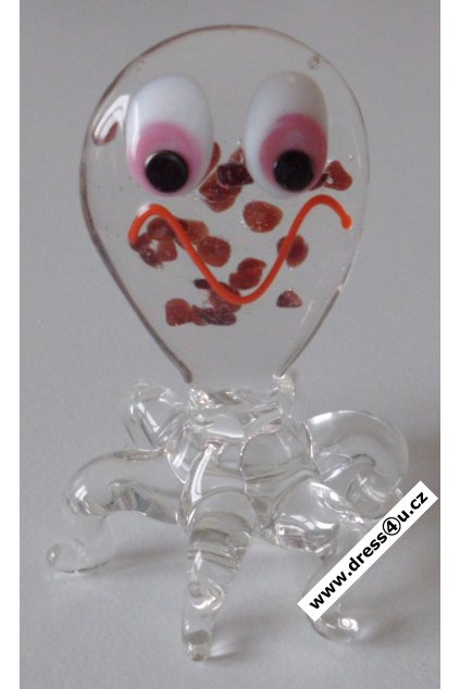 Chobotnice - skleněná figurka s Českým granátem