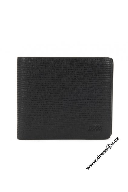 Bifold wallet with coin pouch in printed leather Timeless 4cc coin Black B 4016