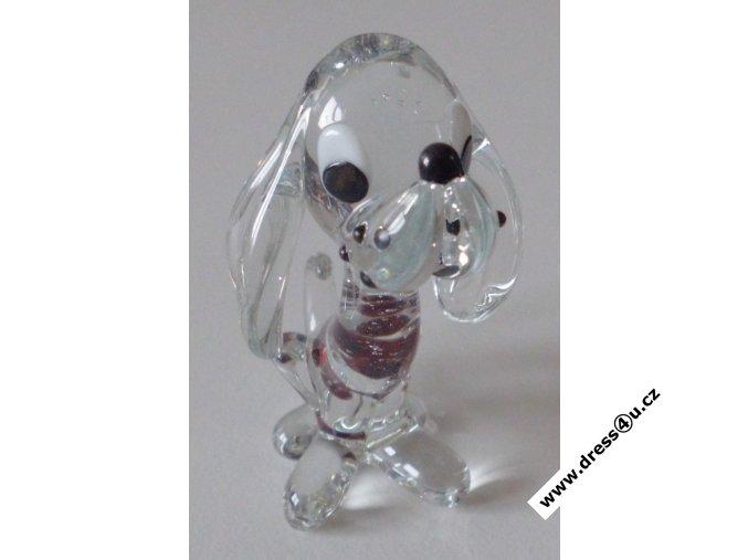 Pejsek - skleněná figurka s Českým granátem
