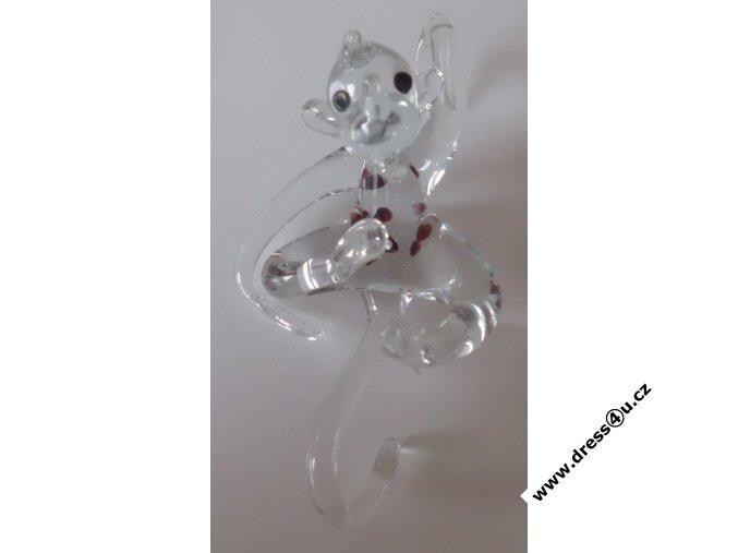 Opice - skleněná figurka s Českým granátem