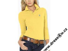 Ralph Lauren dámské polo triko žluté s dlouhým rukávem