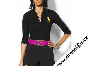 Ralph Lauren dámské polo triko černé s velkým žlutým koněm