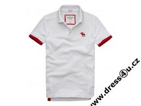 Pánské triko Abercrombie & Fitch Ampersand Mountain Polo bílé - červené lemy
