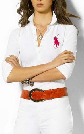 Ralph Lauren dámské polo triko bílé s velkým červeným koněm velikost: S