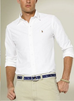 Ralph Lauren pánská košile Oxford bílá velikost: M