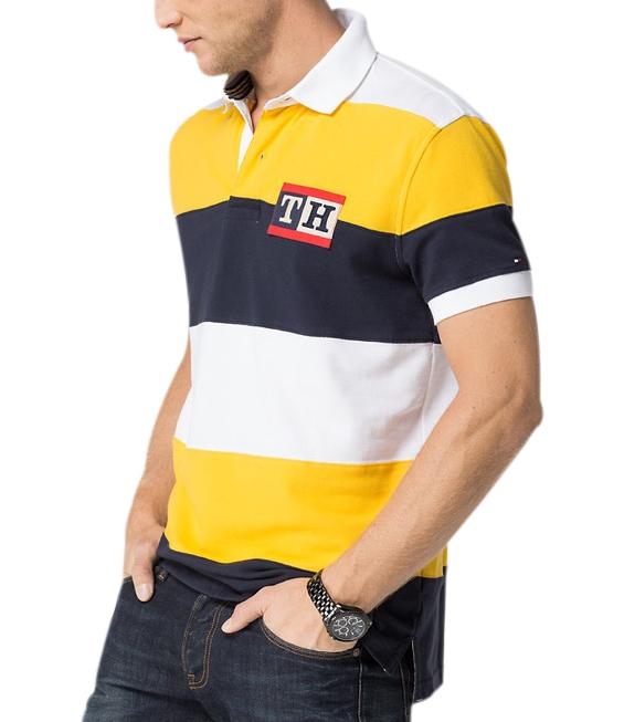 Tommy Hilfiger pánské polo triko žluté pruhy velikost: M