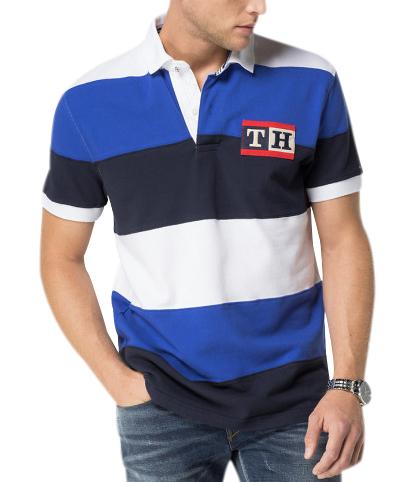 Tommy Hilfiger pánské polo triko modré pruhy velikost: M
