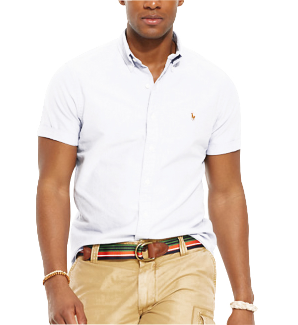 Ralph Lauren pánská košile Oxford bílá krátký rukáv velikost: M