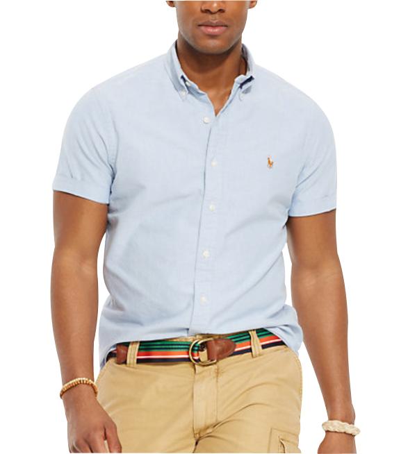 Ralph Lauren pánská košile Oxford modrá krátký rukáv velikost: M