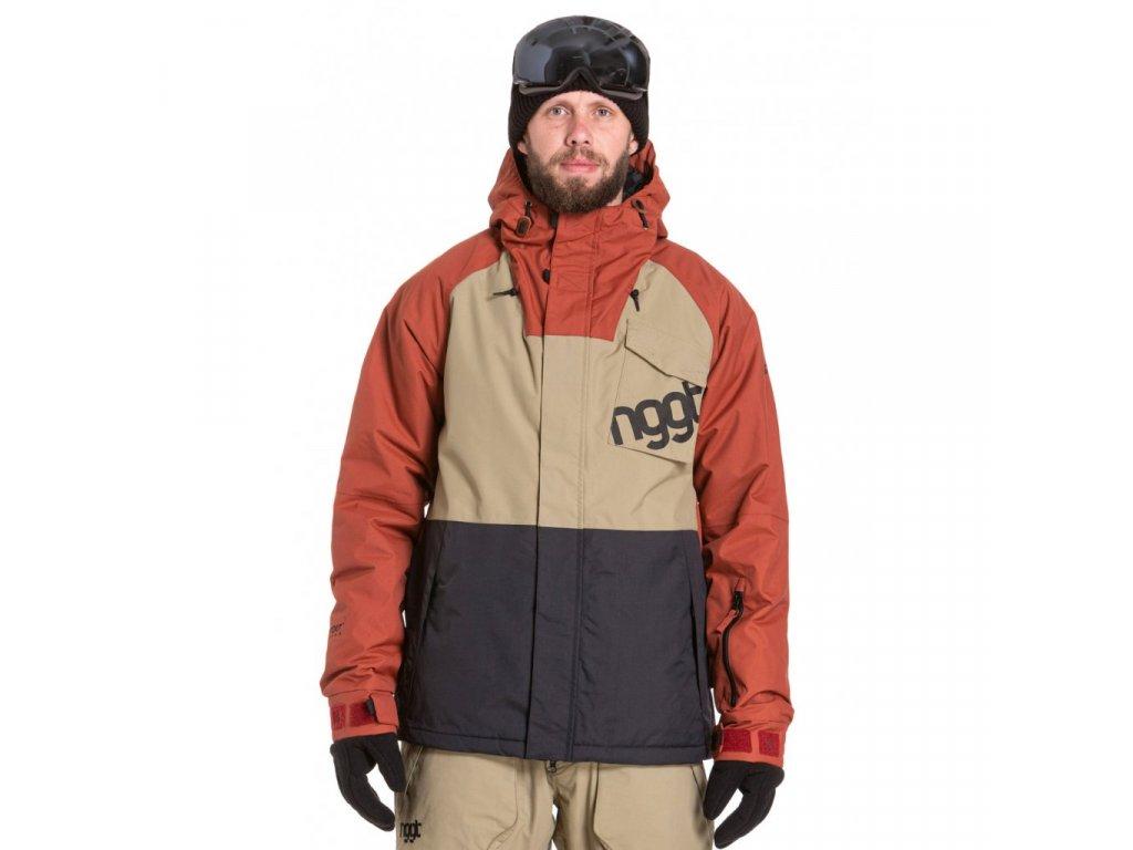 Snowboardová bunda Nugget Rover E Sand, Picante, Black
