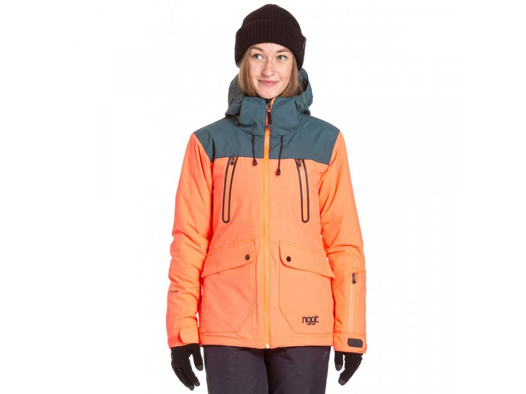 Snowboardová bunda Nugget Phobia 3 F Acid Orange, Sea Green