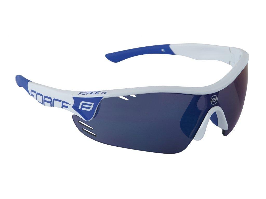 brýle FORCE RACE PRO bílo modré, modrá laser skla