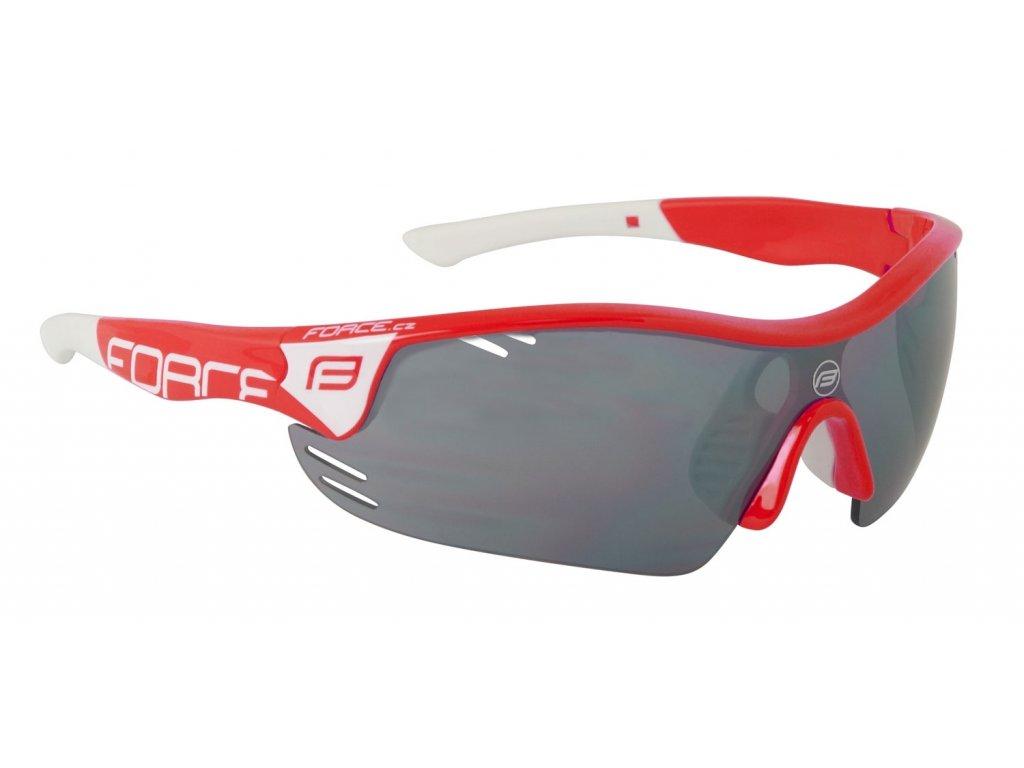 brýle FORCE RACE PRO červeno bílé,černá laser skla