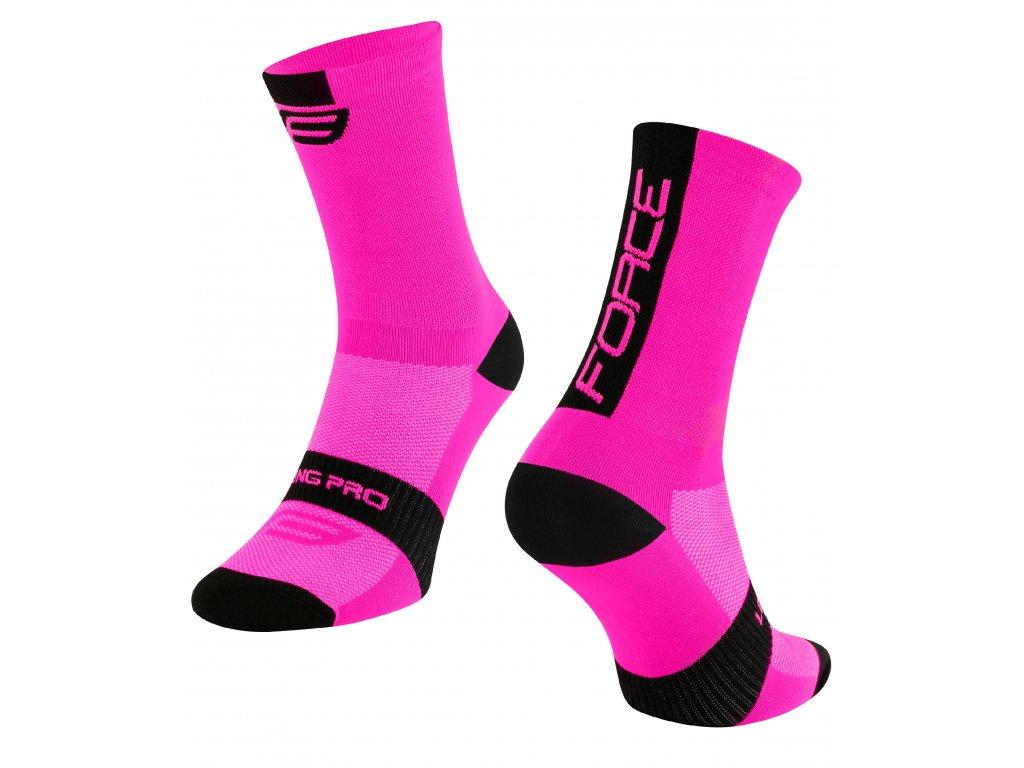 ponožky FORCE LONG PRO, růžovo černé