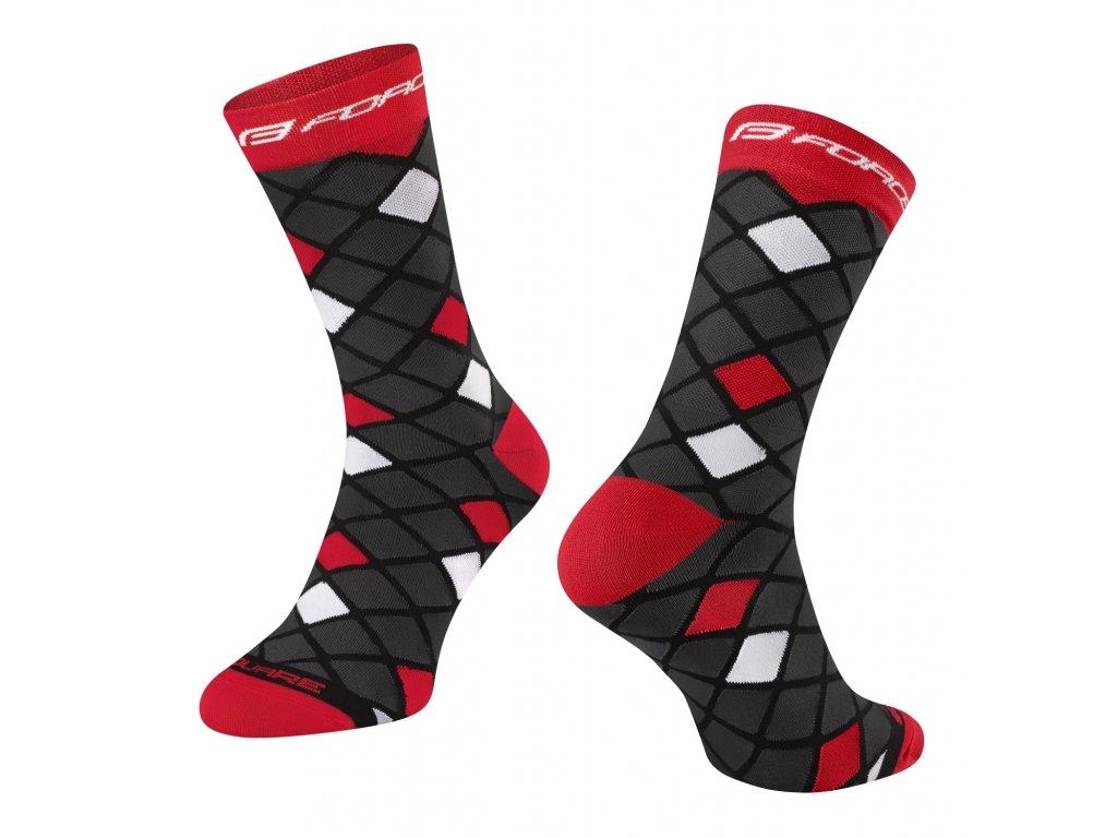 ponožky FORCE SQUARE, černo červené