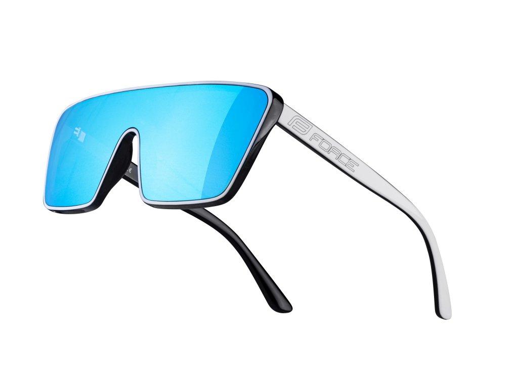 brýle FORCE SCOPE, černo bílé, modrá zrc. skla