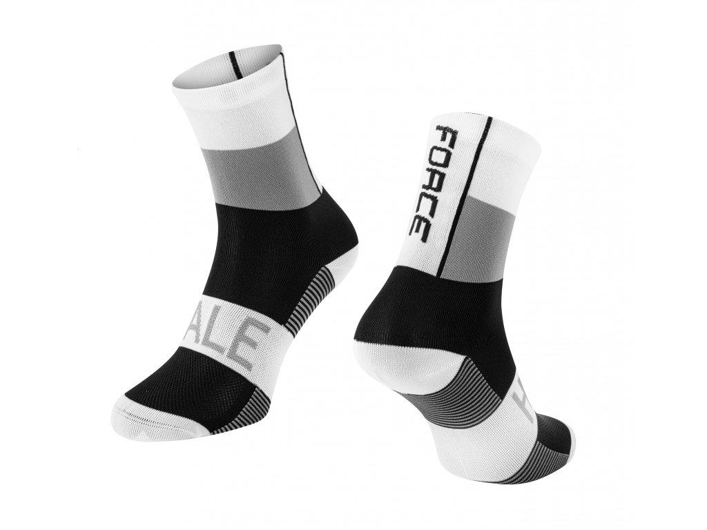 ponožky FORCE HALE, bílo šedo černé