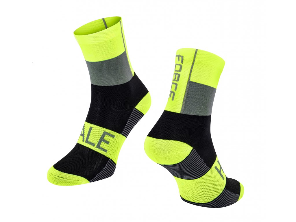 ponožky FORCE HALE, fluo černo šedé