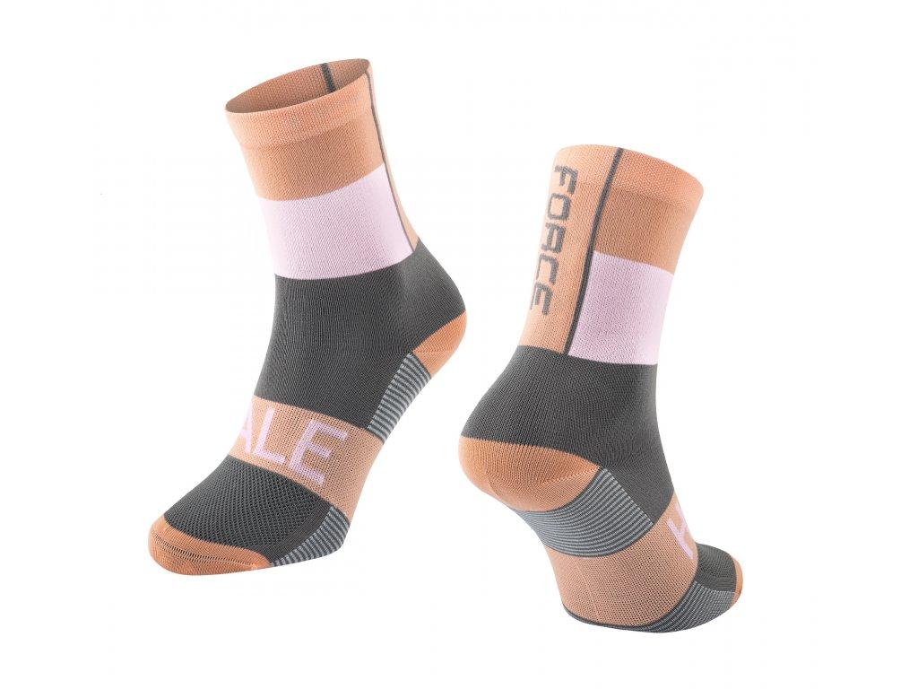 ponožky FORCE HALE, oranžovo bílo šedé