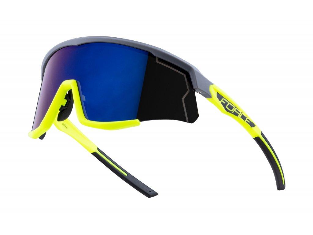 brýle FORCE SONIC šedo fluo, modro fial. zrc. skla