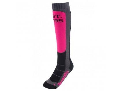 Snowboardové ponožky Meatfly Hooper Pink, Grey