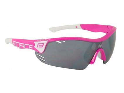 brýle FORCE RACE PRO růžovo bílé, černá laser skla