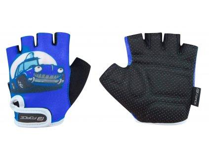 rukavice FORCE KID dětské, modre auto