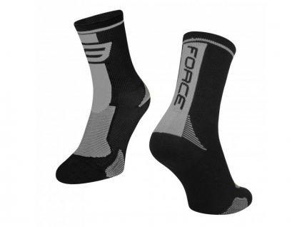 ponožky force long černo šedé