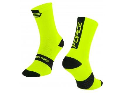 ponožky FORCE LONG PRO, fluo černé