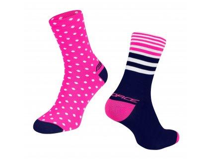 ponožky FORCE SPOT, růž. modré 1