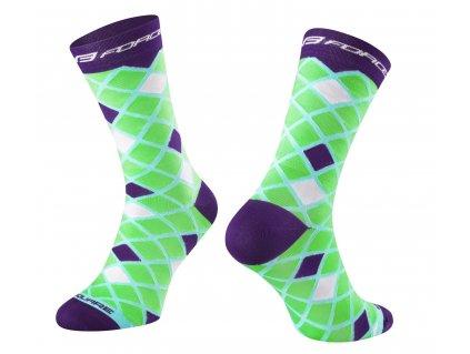 ponožky FORCE SQUARE, zeleno fialové