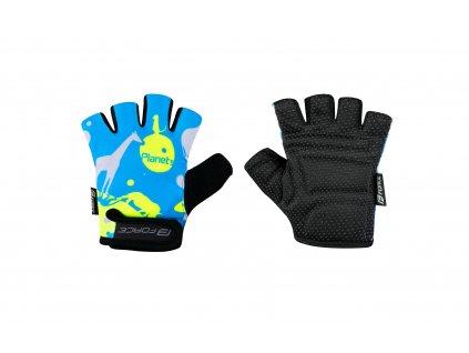 rukavice F PLANETS dětské, modro fluo