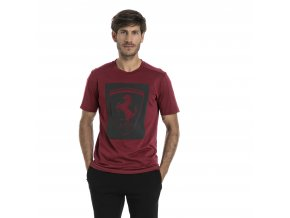 Puma Mens Ferrari Big Shield Tee Pomegranate