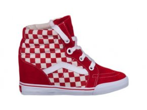 Vans Off The Wall Sk8 Hi Wedge Checkerboard True Red True White
