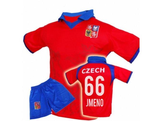 Fotbalový komplet ČR / LEV - VLASTNÍ JMÉNO A ČÍSLO - červený