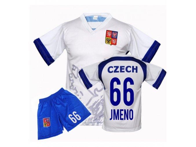 Fotbalový komplet ČR / LEV - VLASTNÍ JMÉNO A ČÍSLO - bílý