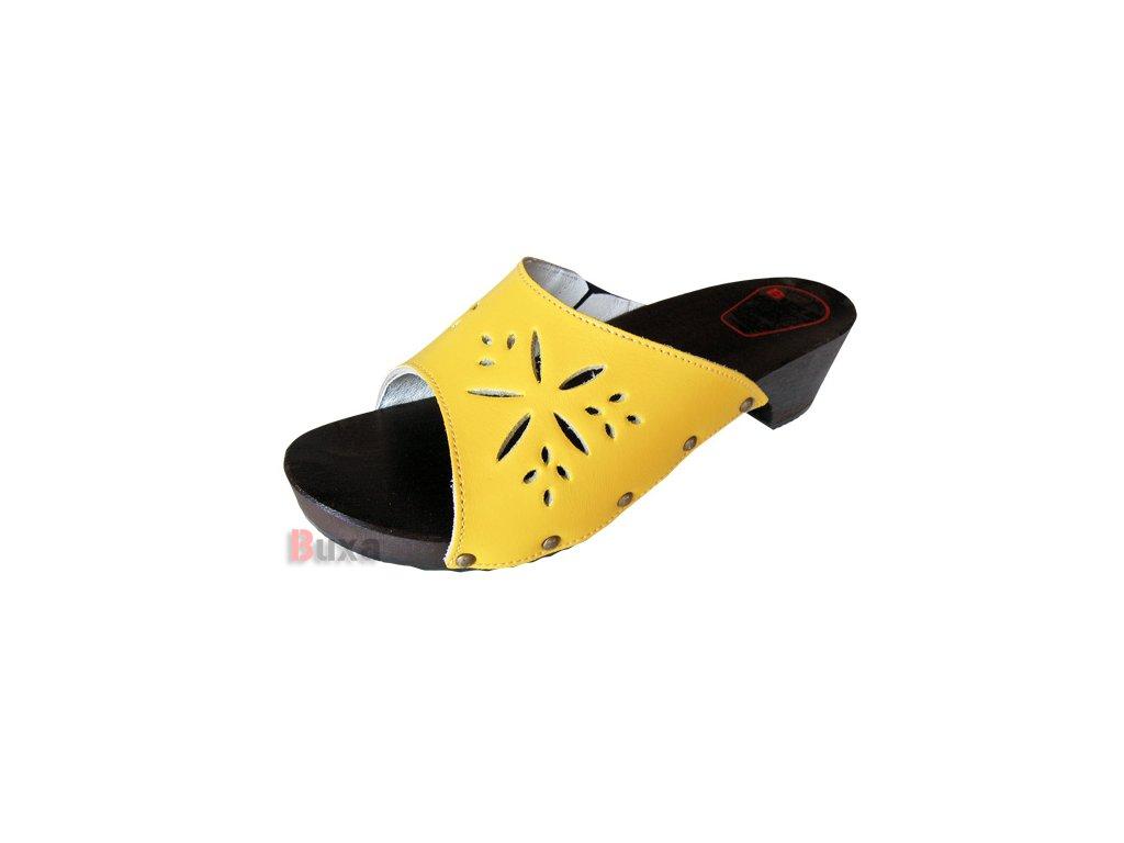 Dámske Dreváky Šľapky W10 Žlté