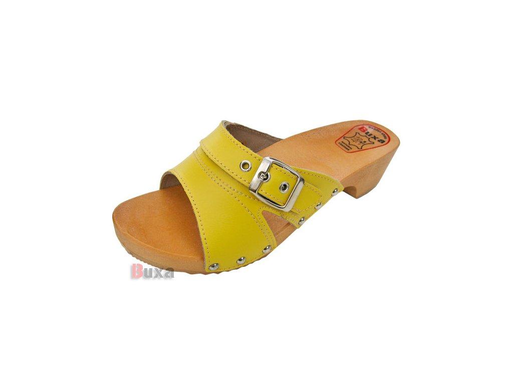 Dámske Dreváky Šľapky W30 Žlté