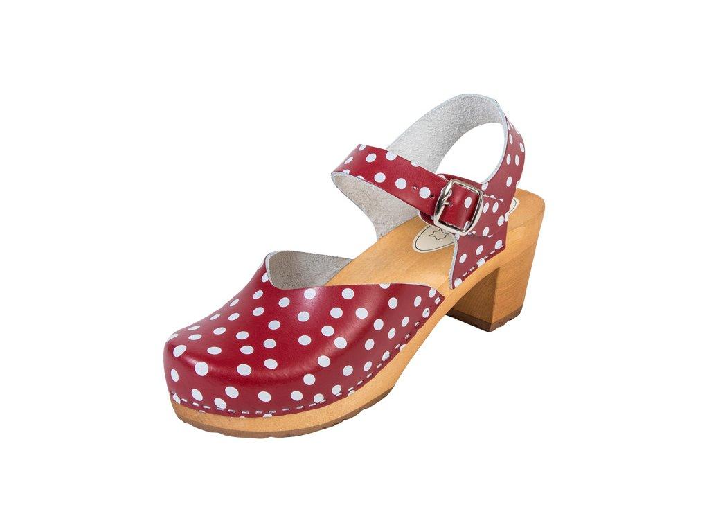 Dámske Drevákové Sandále Na Vysokom Opätku OS3 Bodkované
