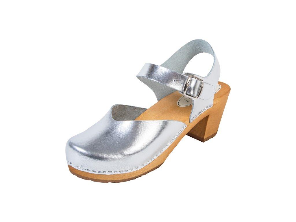 Dámske Drevákové Sandále Na Vysokom Opätku OS3 Strieborné