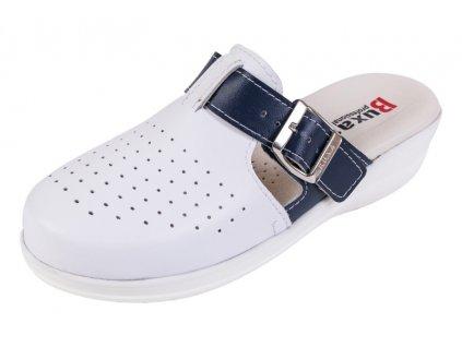 Medicínka obuv MED21 - Biela S Tmavomodrým Pásikom