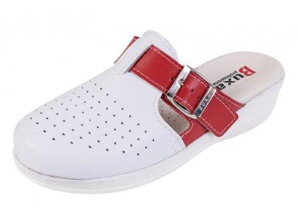 Medicínka obuv MED21 - Biela S Červeným Pásikom