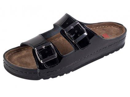 Dámska zdravotná obuv MEMORY - Šľapky - BZ110 - Čierna Lesklá