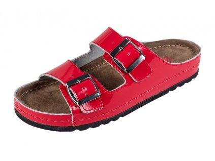 Dámska zdravotná obuv MEMORY - Šľapky - BZ110 - Červená Lesklá