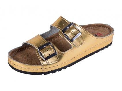 Dámska zdravotná obuv MEMORY - Šľapky - BZ110 - Zlatá