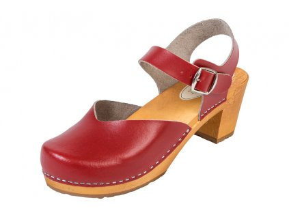 Dámske Drevákové Sandále Na Vysokom Opätku OS3 Červené