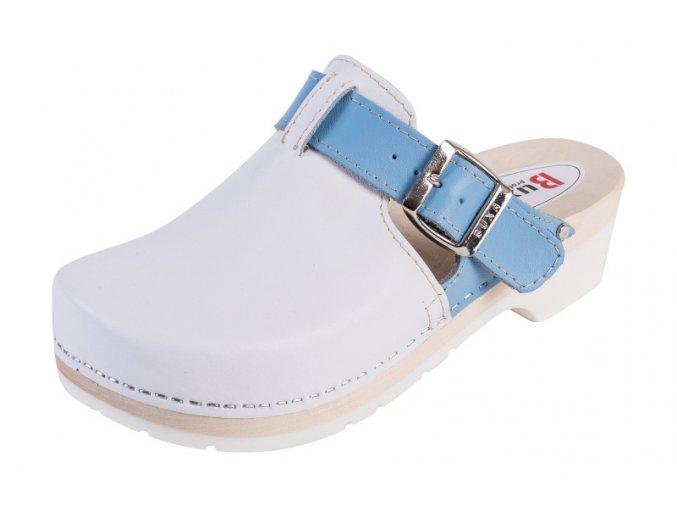 Dreváky Na Gumenej Podrážke SuperKomfort FPU20 - Biele S Modrým Pásikom