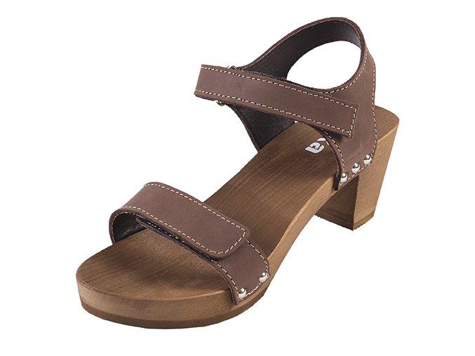 Sandále Na Vysokom Opätku OD15 Tmavý Nubuk