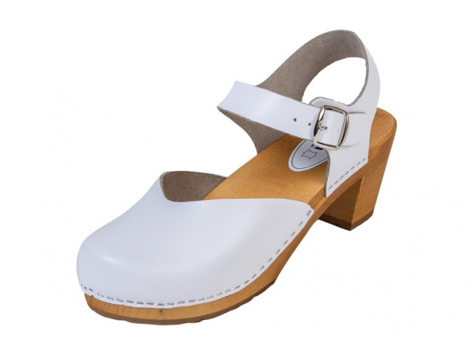 Dámske Drevákové Sandále Na Vysokom Opätku OS3 Biele