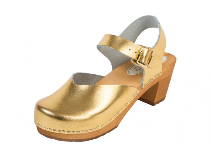 Dámske Drevákové Sandále Na Vysokom Opätku OS3 Zlaté